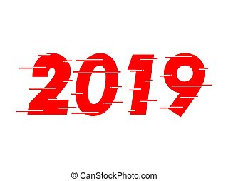texte, 2019, conception, année, nouveau, rouges, heureux