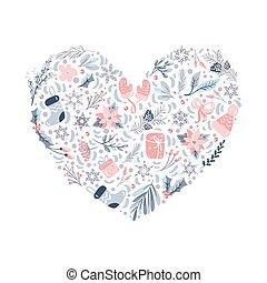 texte, affiche, noël, heart., carte, noël, illustration, ornement, formulaire, éléments, vecteur, modèle, isolé, conception, salutation, endroit