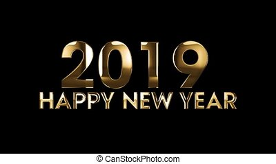 texte, -, animation, 2019, année, nouveau, heureux