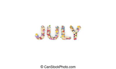 "texte, animation, mois, calendrier, ""floral, july."""