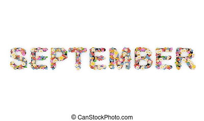 "texte, animation, september."", mois, calendrier, ""floral"