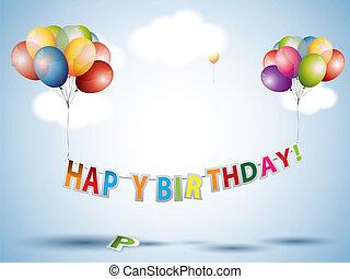texte, anniversaire, ballons, coloré, heureux
