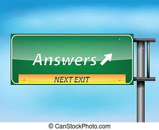 texte, 'answers', lustré, signe route