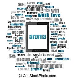 texte, aroma., social, concept, ., mot, collage, à, pc tablette