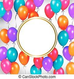 texte, ballons, bannière, fête, espace