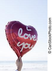 texte, balloon, amour, vous, forme coeur