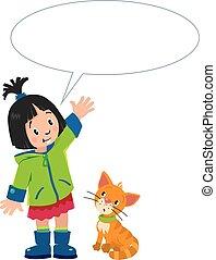 texte, balloon, girl, chaton