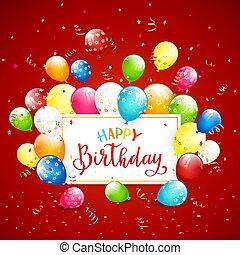 texte, banderoles, anniversaire, fond, vacances, ballons, rouges, heureux
