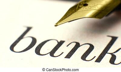 texte, banque, fin, stylo, haut, fontaine