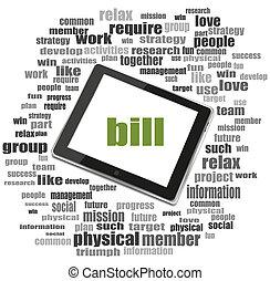 texte, bill., concept affaires, ., tablette, pc., mot, nuage, collage