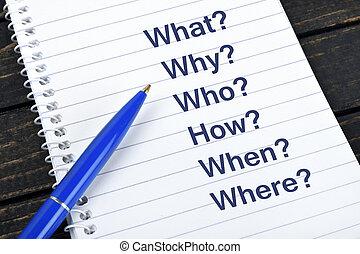 texte, Bloc-notes,  questions