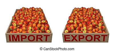 texte, boîtes, exportation, pommes, importation, rouges