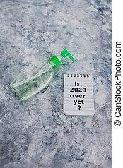 texte, bouteille, main, sanitizer, suivant, covid-19, encore, pandémie, sur, note, 2020, après, virus, vie