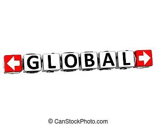 texte, bouton, global, ici, déclic, bloc, 3d