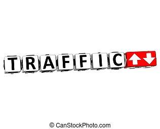 texte, bouton, ici, trafic, déclic, bloc, 3d