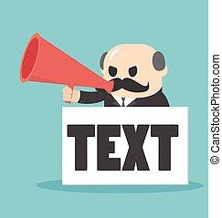 texte, box., patron, tenue, entrée, homme affaires, porte voix
