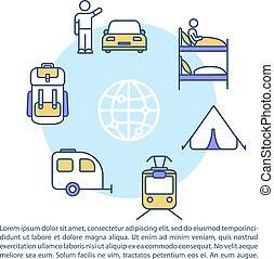 texte, budget, concept, tourisme, icône