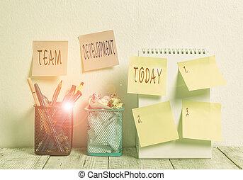 texte, business, desk., concept, pots, spirale, efficacité, ...