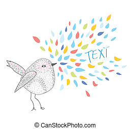texte, cadre, bannière, oiseau, carte