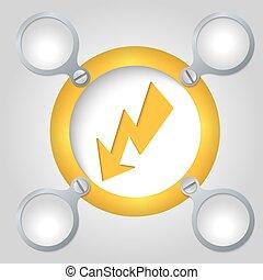 texte, cadre, flash, jaune, circulaire