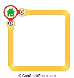 texte, cadre, jaune, maison, cercle, ton, rouges, icône