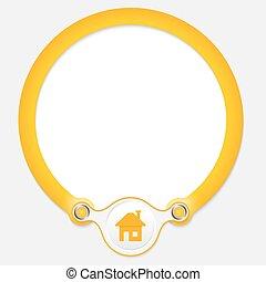 texte, cadre, jaune, maison, circulaire, ton, icône