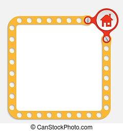 texte, cadre, jaune, maison, vis, n'importe quel, icône