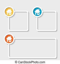 texte, cadre, maison, blanc, n'importe quel, icône