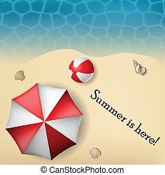 texte, cadre, parapluie plage