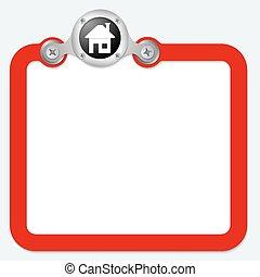 texte, cadre, symbole, rouges, maison