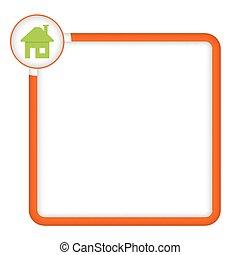 texte, cadre, vecteur, maison, ton, icône