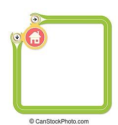 texte, cadre, vert, maison, ton, icône