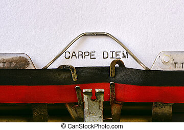 texte, carpe, machine écrire, diem