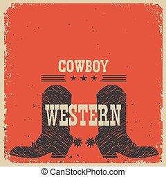 texte, carte, vecteur, cowboy charge, arrière-plan., rouges