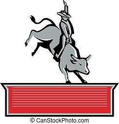 texte, cavalier, cow-boy, bannière, taureau, retro, rodéo