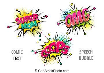 texte, comique, ensemble, bulle discours