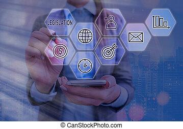texte, concept., écriture, puissance, ensemble, business, numérique, grilles, mot, legislation., exercice, fonction, règles, icônes technologie, dernier, confection, concept, haut, différent