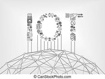 texte, concept, choses, iot, internet