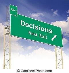 texte, concept, décisions, panneaux signalisations