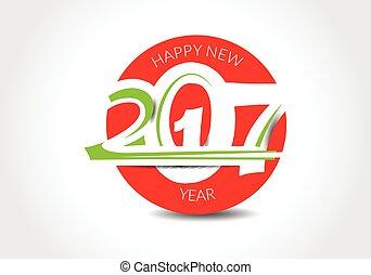 texte, conception abstraite, année, nouveau, 2017, heureux