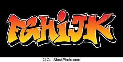 texte, conception, graffiti, style, lettrage