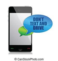 texte, conduire, cellule, pas, message, bulle
