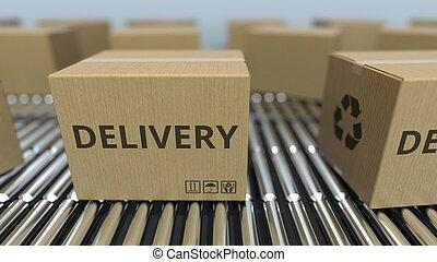 texte, conveyor., mouvement, livraison, rendre, boîtes, carton, rouleau, 3d