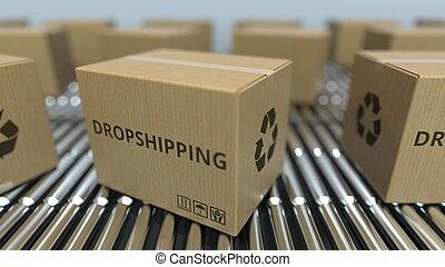 texte, conveyor., mouvement, rendre, boîtes, dropshipping, carton, rouleau, 3d