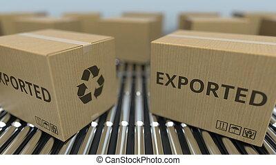 texte, conveyor., mouvement, rendre, boîtes, exported, carton, rouleau, 3d
