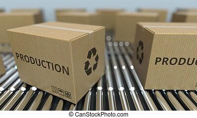 texte, conveyor., mouvement, rendre, boîtes, production, carton, rouleau, 3d