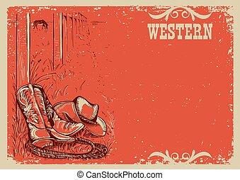 texte, cowboy's, illustration, fond, life., occidental