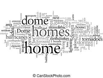 texte, dôme, orage, wordcloud, maisons, concept, abri, fond