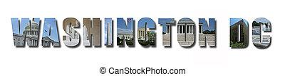 texte, dc, repères, blanc, ombre, collage, isolé, washington, monuments