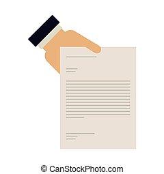 texte, document, tenant main